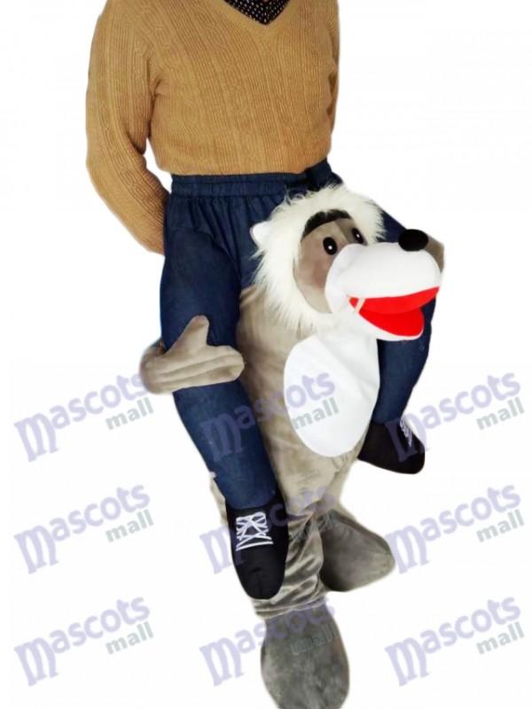 Huckepack Wolf Carry Me Ride Grey Wolf Maskottchen Kostüm